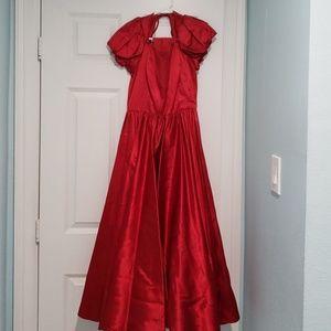 Red satin dress